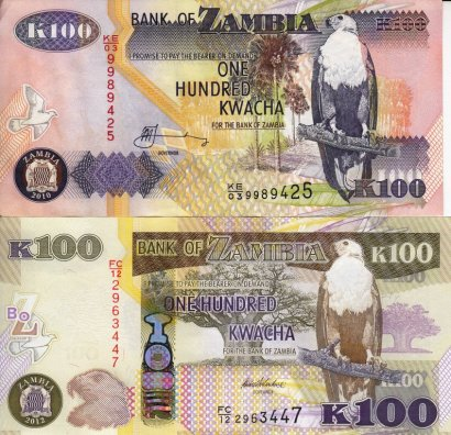 Zambian 100 Kwacha bank notes
