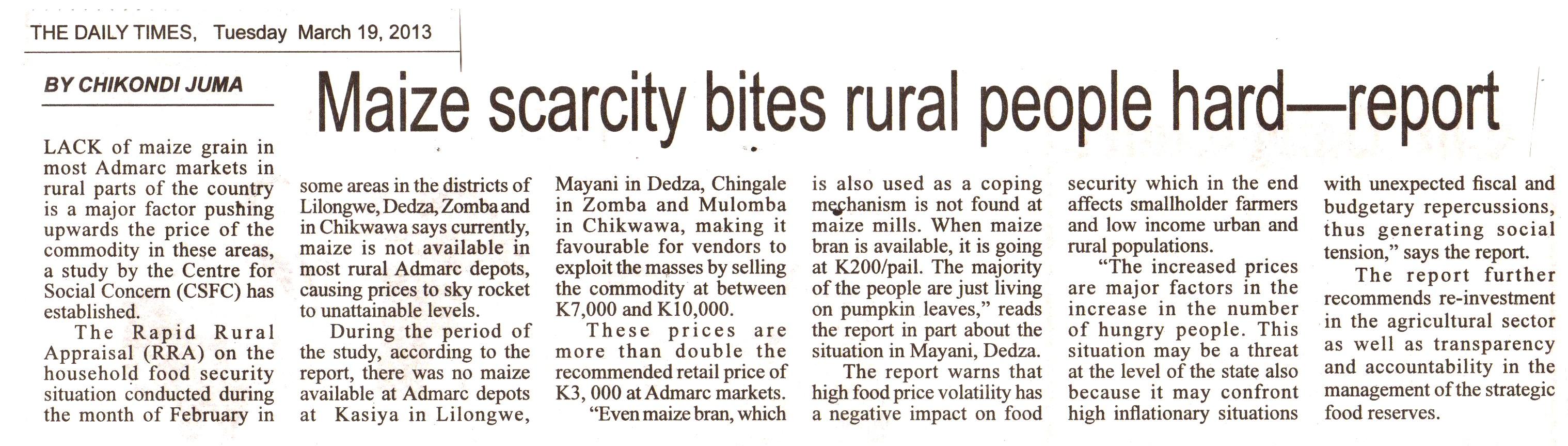 Maize scacity bites rural population