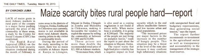 Maize scacity bites rural population