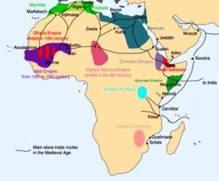 Main slave trade routes in the Medieval Age