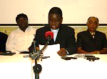 Fr. Lungu with other CSO members during the press briefing at Golden bridge hotel