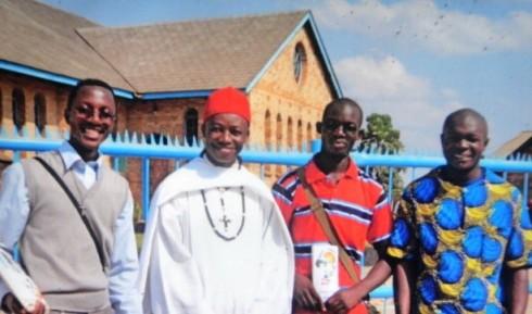 From Left: Julius Musonda, Fr. Kangwa, Rogers Mwansa and Peter Mutasha