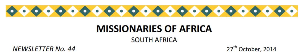 Newsletter South Africa no 44 – October 2014