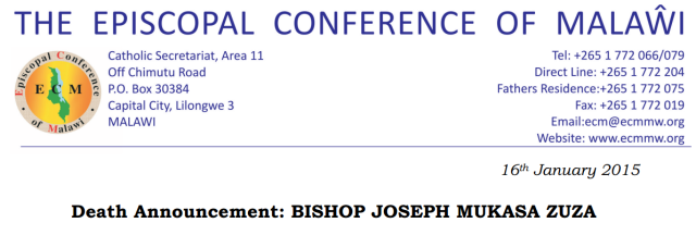 Death Announcement Joseph Zuza Jan 2015