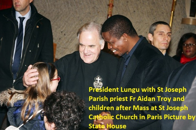 President Lungu with St Joseph Parish priest Fr Aidan Troy