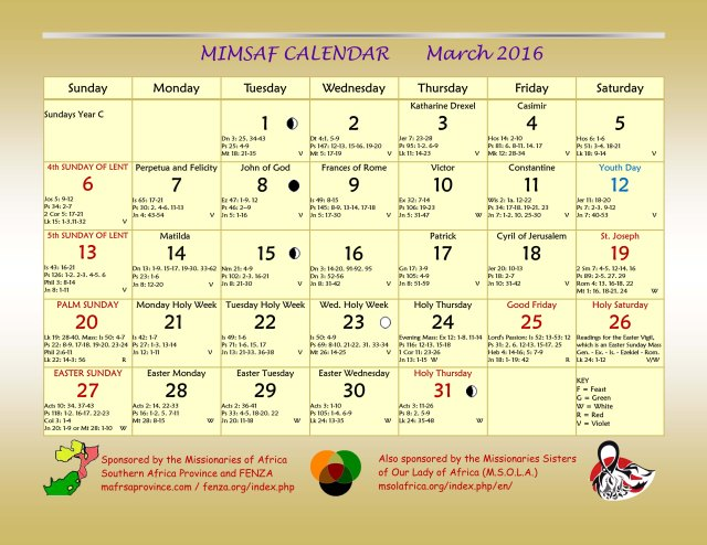2016 MIMSAF Calendar March