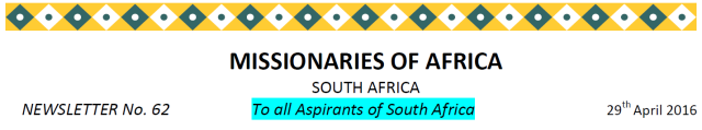 Newsletter South Africa No 62 title