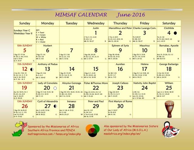 2016 MIMSAF Calendar June 2016