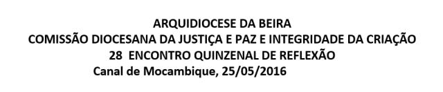 28  ENCONTRO QUINZENAL DE REFLEXÃO