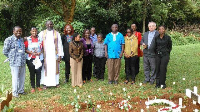 Nairobi Y.Ps with Confreres - at Fr. Alekwe's Grave at St. Austin - IMG-20160516-WA0008