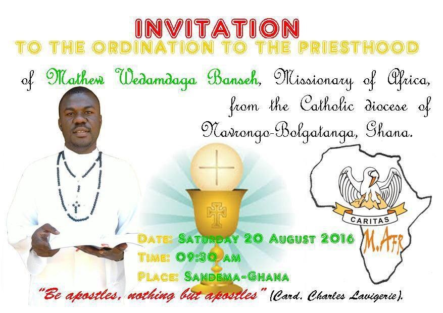 Invitation card for the priestly ordination of Mathew Wedamdaga