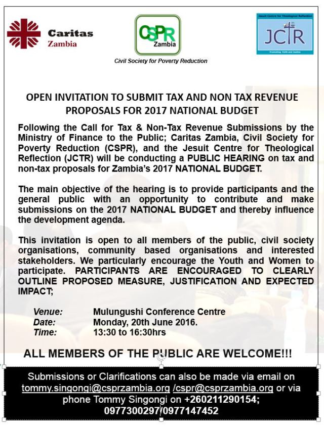 OPEN INVITATION TO SUBMIT TAX AND NON TAX REVENUE PROPOSALS