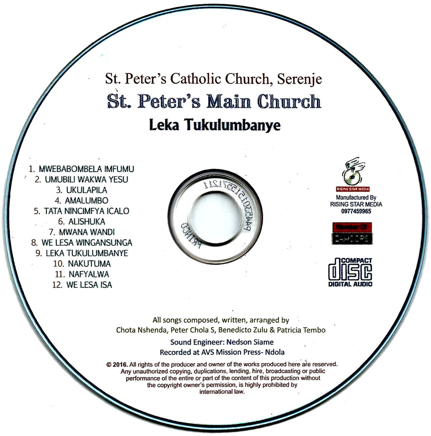 New CD of St  Peter's Main Choir – Serenje Catholic Church