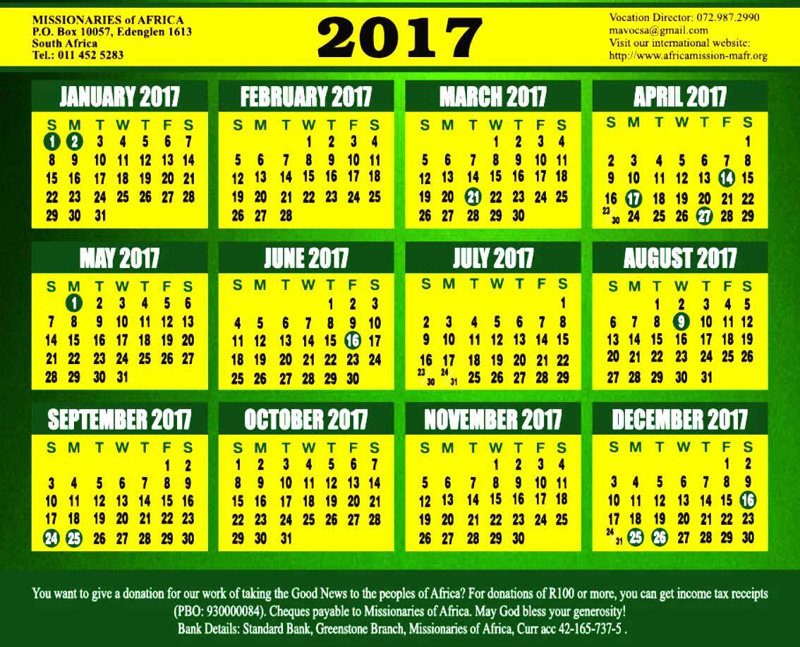October Calendar 2017 South Africa